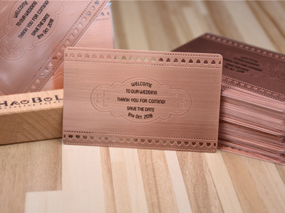Rose Gold Brushed Metal Card